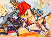picture of bullfighting  - The Spanish sports bullfight matador on a horse - JPG