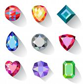 stock photo of gem  - Flat style long shadow colored gems jewelry icons isolated on white background vector illustration - JPG