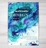 stock photo of placard  - Vector Poster Template with Watercolor Paint Splash And Doodle Wave Pattern - JPG
