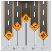 stock photo of traffic sign  - Road And Street Traffic Sign Business Infographic Design Template - JPG