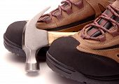 image of workplace safety  - Work tools and  safety shoes with steel toes - JPG