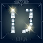 picture of letter j  - Futuristic vector lamp alphabet on glossy mirror background - JPG