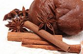 image of christmas spices  - Spice for baking anise and cinnamon dough for gingerbread and Christmas cookies lying on white flour concept for baking and christmas time - JPG