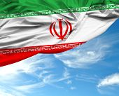 picture of tehran  - Iranian waving flag on a beautiful day - JPG