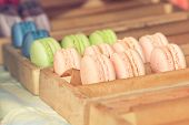 pic of buffet  - Delicious sweet buffet with colorful macarons in a  box. Shallow depth of field