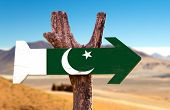 picture of pakistani flag  - Pakistan Flag wooden sign with desert road background - JPG