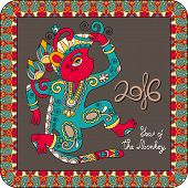 stock photo of ape  - original design for new year celebration with decorative ape and inscription  - JPG