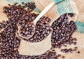 image of coffee coffee plant  - Coffee beans in coffee bag on sack surface background - JPG