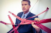 pic of trap  - Businessman trapped by red tape on white background - JPG
