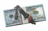image of seatbelt  - safety money concept dollars with safety belt - JPG
