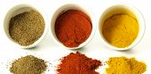 image of cumin  - Turmeric cumin and hot pepper on isolated background - JPG