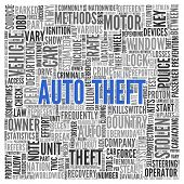 stock photo of theft  - Close up AUTO THEFT Text at the Center of Word Tag Cloud on White Background - JPG