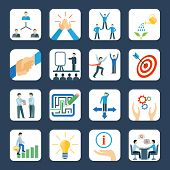 stock photo of mentoring  - Personal development and teamwork mentoring business programs flat icons set with hands symbols abstract isolated vector illustration - JPG