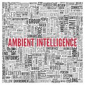 foto of ami  - Close up AMBIENT INTELLIGENCE Text at the Center of Word Tag Cloud on White Background - JPG