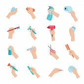 stock photo of household  - Hand holding household objects and hygiene accessories icons set flat isolated vector illustration - JPG