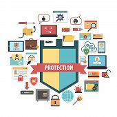 stock photo of malware  - Computer virus protection shield and malware removal software security concept banner flat icons composition abstract vector illustration - JPG