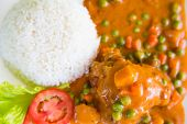 image of curry chicken  - Chicken Curry served with rice - JPG