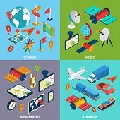 pic of gps navigation  - Gps navigation satellites markers and devices with symbol and accessories isometric icon set isolated vector illustration - JPG