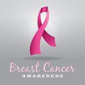 image of mammogram  - A pink breast cancer awareness ribbon over a light grey burst - JPG