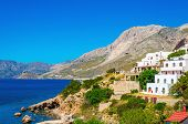 picture of greek-island  - Typical Greek houses on the coast - JPG