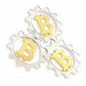 foto of peer  - Three silver cogwheel gears with a golden bitcoin peer - JPG