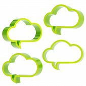 picture of foreshortening  - Cloud shaped green glossy text bubbles isolated over the white background - JPG