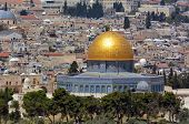 picture of israel people  - Aerial view the Dome of the Rock on the Temple Mount from the mount of Olives in Jerusalem Israel - JPG