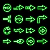 pic of fluorescent  - modern fluorescent green arrows set isolated on black - JPG