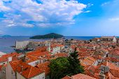 picture of red roof  - historic red tile roofs in dubrovnik with island and sea - JPG