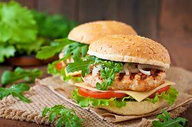 foto of burger  - Sandwich with chicken burger - JPG