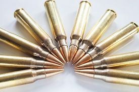 foto of semi-circle  - Semi circle of cartridges on white that have bullets with a steel core - JPG