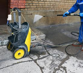 picture of pressure-wash  - Washing of a facade of the building - JPG
