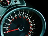 pic of speedo  - An angled shot of a speedo from a car dash - JPG