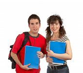 Two Students With Books And Backpacks poster
