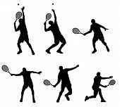 stock photo of olympiad  - Abstract vector illustration of tennis player silhouette - JPG