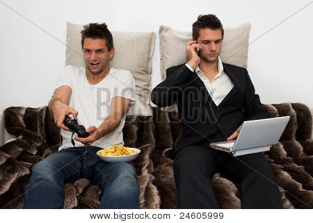 poster of Gamer and Businessman side by side