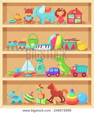 Cartoon Toys On Wood Shelves