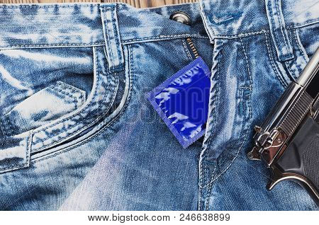 Condom In Blue Package And