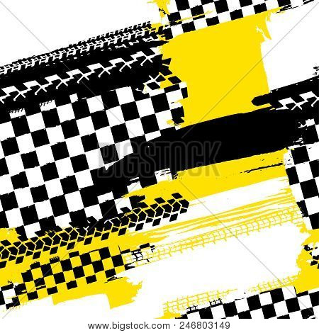 poster of Motorcycle And Motor Tire Tracks Seamless Pattern. Grunge Automotive Addon Useful For Poster, Print,