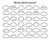 Thin Line Clouds. Vector Linear Cloud Silhouette Icons For Internet Technology Concepts, Cartoon Sha poster