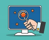 Software Bugs Test. Computer Virus Detection Thin Line Vector Illustration With Magnifying Glass In  poster