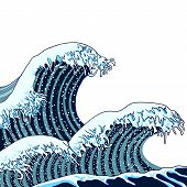 Vector Japanese Waves Illustration, Traditional Asian Art, Painting, Hand Drawn Sea. Blue Waves Illu poster
