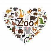Zoo Heart Shape. Lovely Animals Sign, Love Zoo Pet Heart Symbol Vector Illustration poster