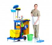 stock photo of maids  - Cleaner maid woman with mop and janitor cart - JPG