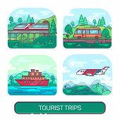 Set Of Summer Travelling On Plane, Ship, Train Or A Bus. Kinds Of Transportation For Trip Or Tourism poster