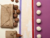 Healthy Sweets Concept. Healthy Sweets On Light Wooden Texture Background. Bag With Walnuts, Nuts, C poster