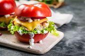 Low Carb Burger Option - Tomato Burger, Copy Space poster