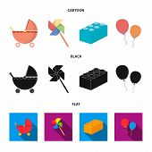 Stroller, Windmill, Lego, Balloons.toys Set Collection Icons In Cartoon, Black, Flat Style Vector Sy poster