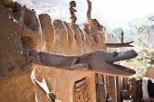 Wooden Sculptures On The Roof, Mali (africa).
