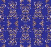 stock photo of gobelin  - Magnificent golden pattern on a dark blue background - JPG